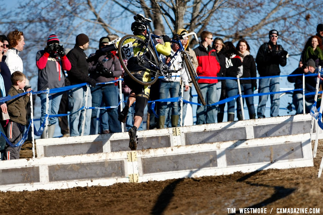 Nick Garcia (US Military Academy) leaps over the barriers, Division 2 Collegiate Men. ©Tim Westmore