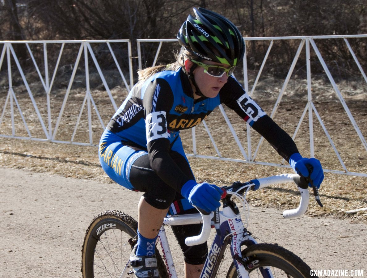 Kaitlin Antonneau Powers Down The Road Section © Cyclocross Magazine