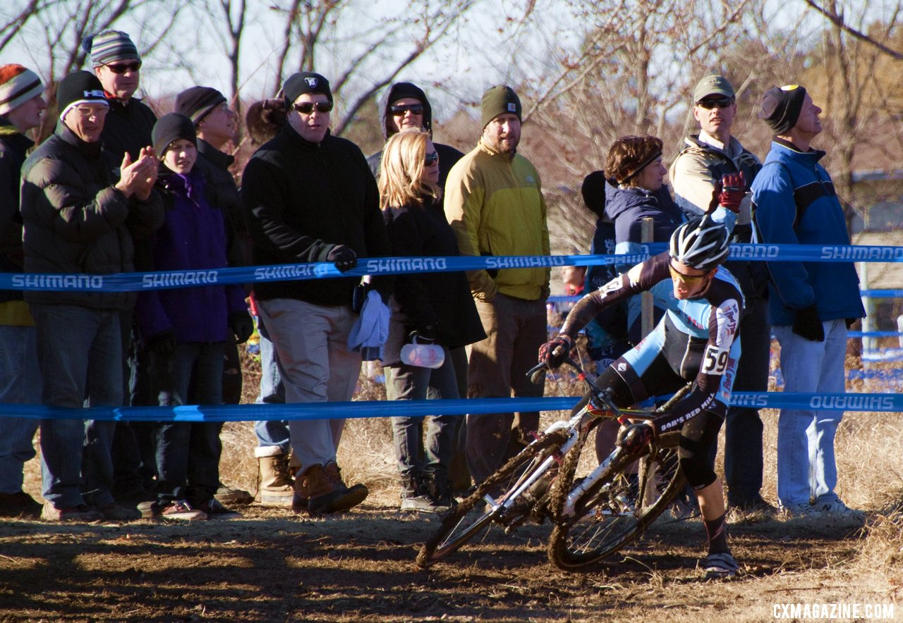 Andrew Dillman was expected to contest the title, but slipped in corners and fell back to fourth. © Cyclocross Magazine