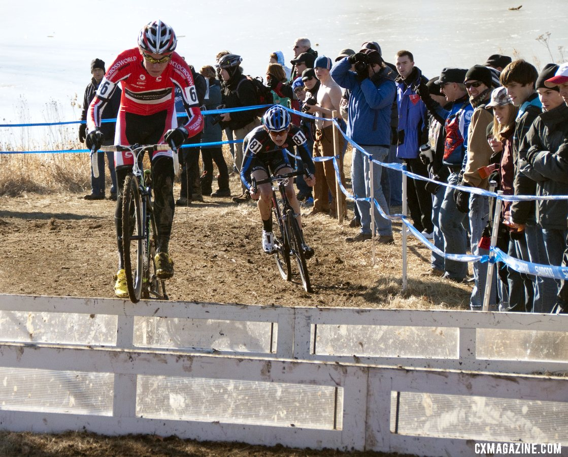 Nathaniel Morse was just one of several juniors to hop the barriers. Junior men\'s 17-18 race, 2012 Cyclocross National Championships. ©Cyclocross Magazine