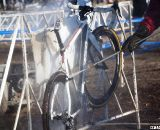 With the frequent exchanges, power washer workers spent lots of time washing Owen's Redline. ©Cyclocross Magazine