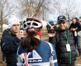 Newly crowned National Champ Mina Anderberg faces the press. © Cyclocross Magazine