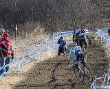 Myerson gets some air in his chase of Webber and Dwight up the hill. 2012 Cyclocross National Championships, Masters Men 40-44. © Cyclocross Magazine