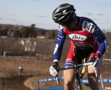Don Myrah (Buy Cell / Ibis) checks his gap over Cariveau (Moots) with two to go. Masters Men 45-49, 2012 Nationals. © Cyclocross Magazine