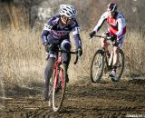 James Alan Coats leads teammate Myall up the hill one last time to finish on the podium yet again. © Cyclocross Magazine