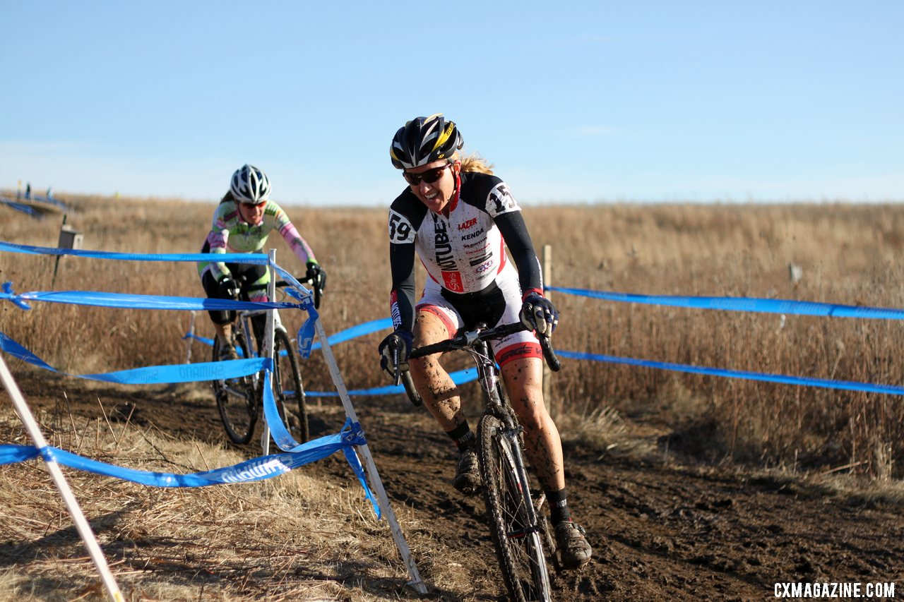 Dana Shinn in a tight battle for seventh. 2012 Cyclocross National Championships, Masters Women 40-44. © Cyclocross Magazine2012 Cyclocross National Championships, Masters Women 40-44. © Cyclocross Magazine