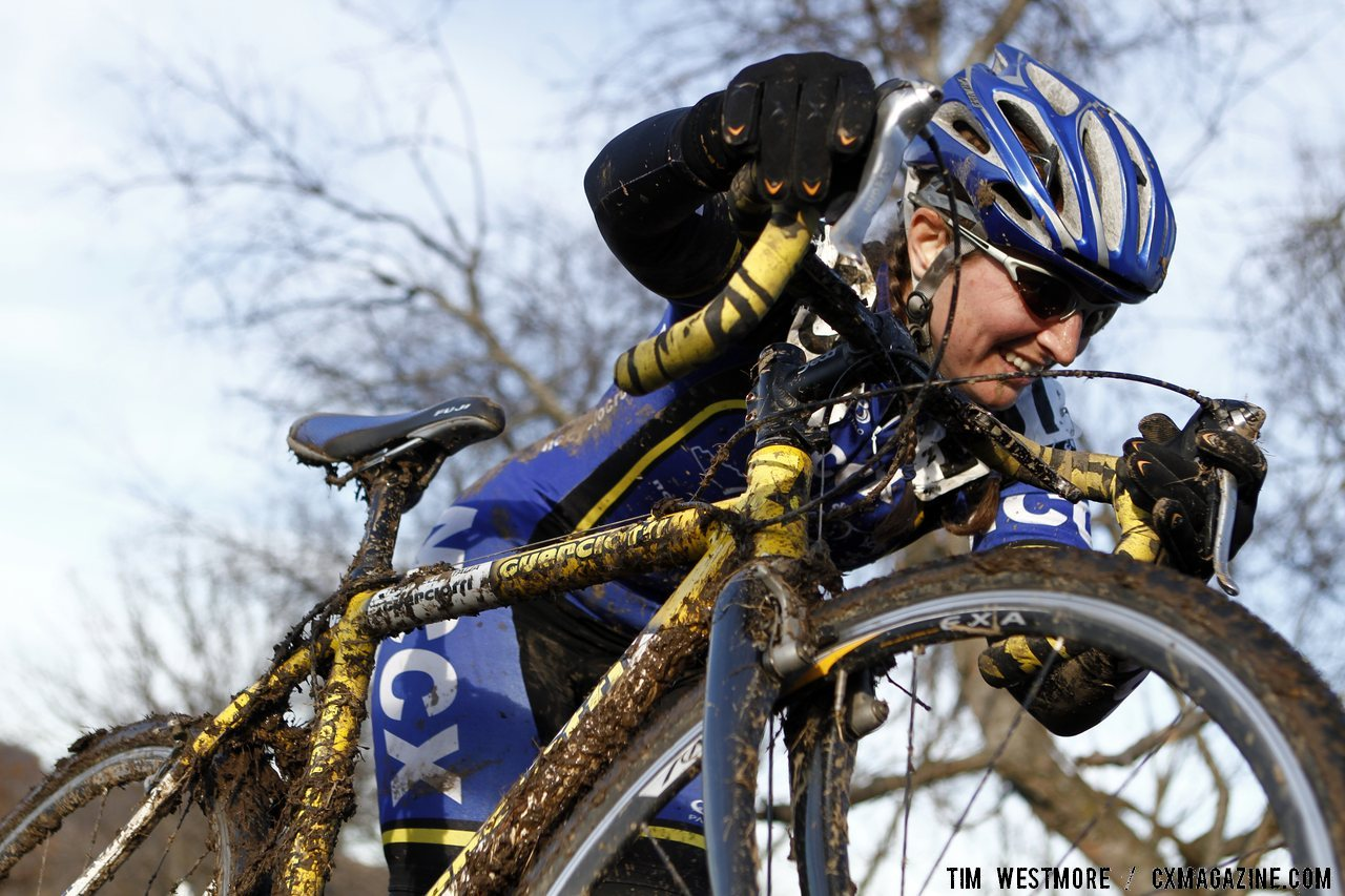 Janet Trubey pushes her muddy bike up the run-up. 2012 Cyclocross National Championships, Masters Women 40-44. © Tim Westmore