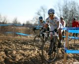 The sandpit proved difficult to ride cleanly for both riders. 2012 Cyclocross National Championships, Masters Women 40-44. © Cyclocross Magazine