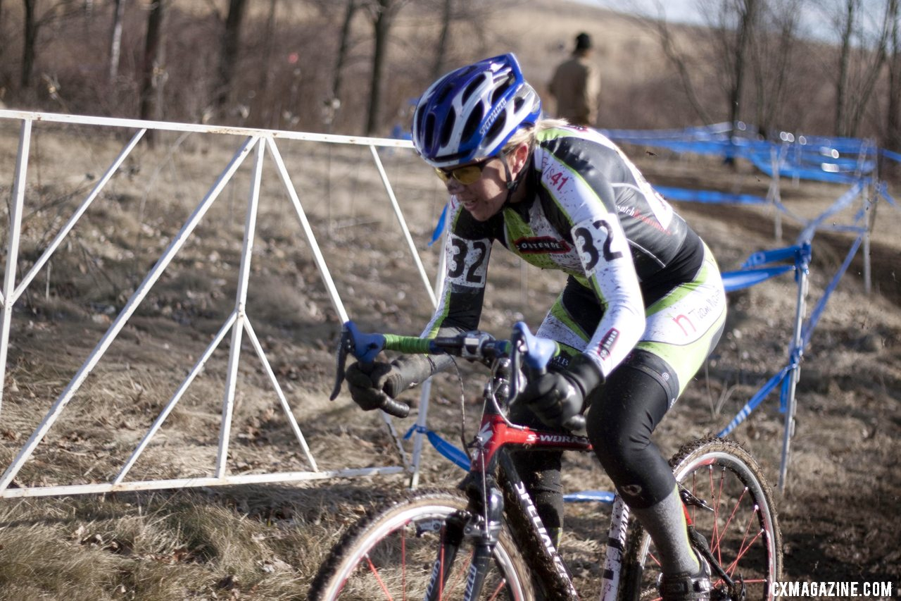 Kris Walker races to hold off Walberg for the win. 2012 Cyclocross National Championships, Masters Women 50-54. © Cyclocross Magazine