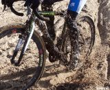 Speed meant sand-sprayed drivetrains. 2012 Cyclocross National Championships, Masters Women Over 45. © Cyclocross Magazine