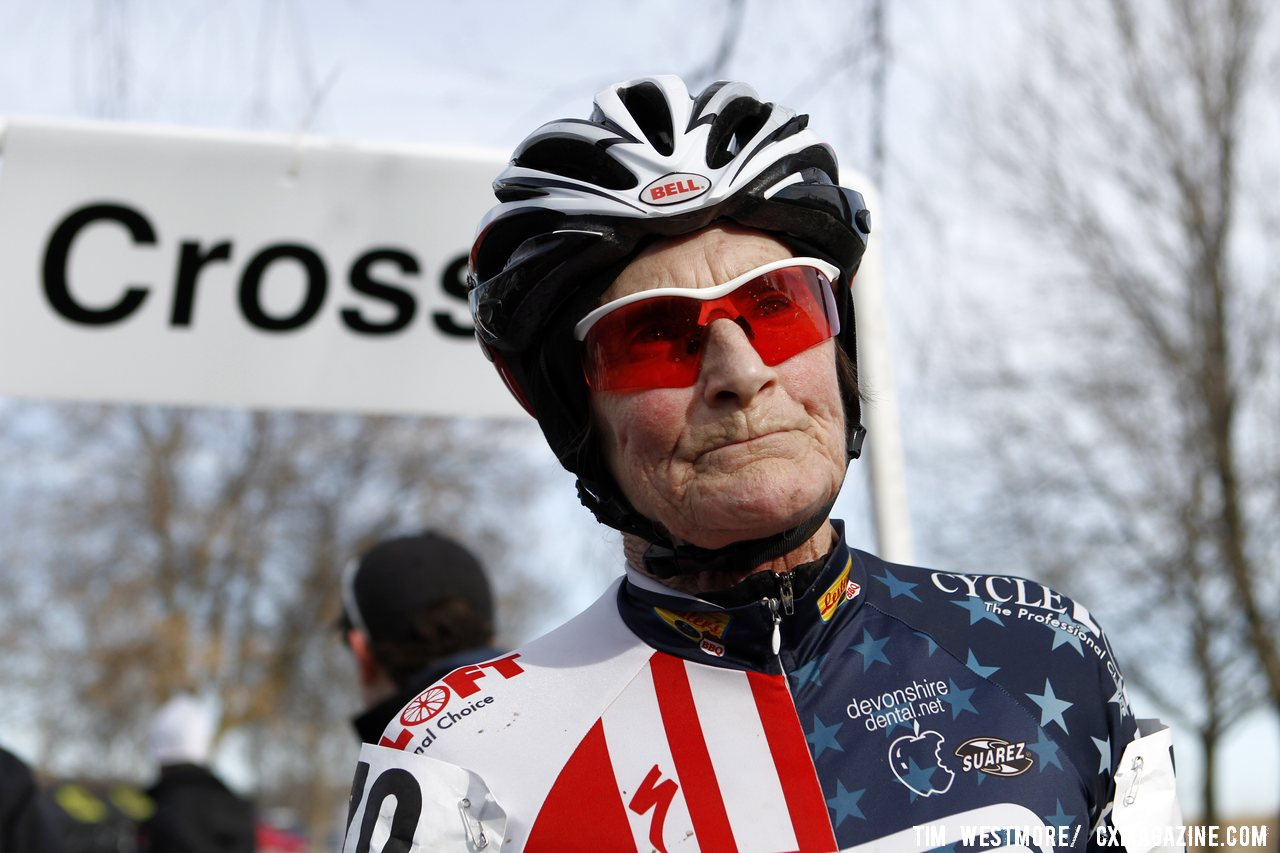 Julie Lockhart continues her winning streak. 2012 Cyclocross National Championships, Masters Women 80+. © Tim Westmore