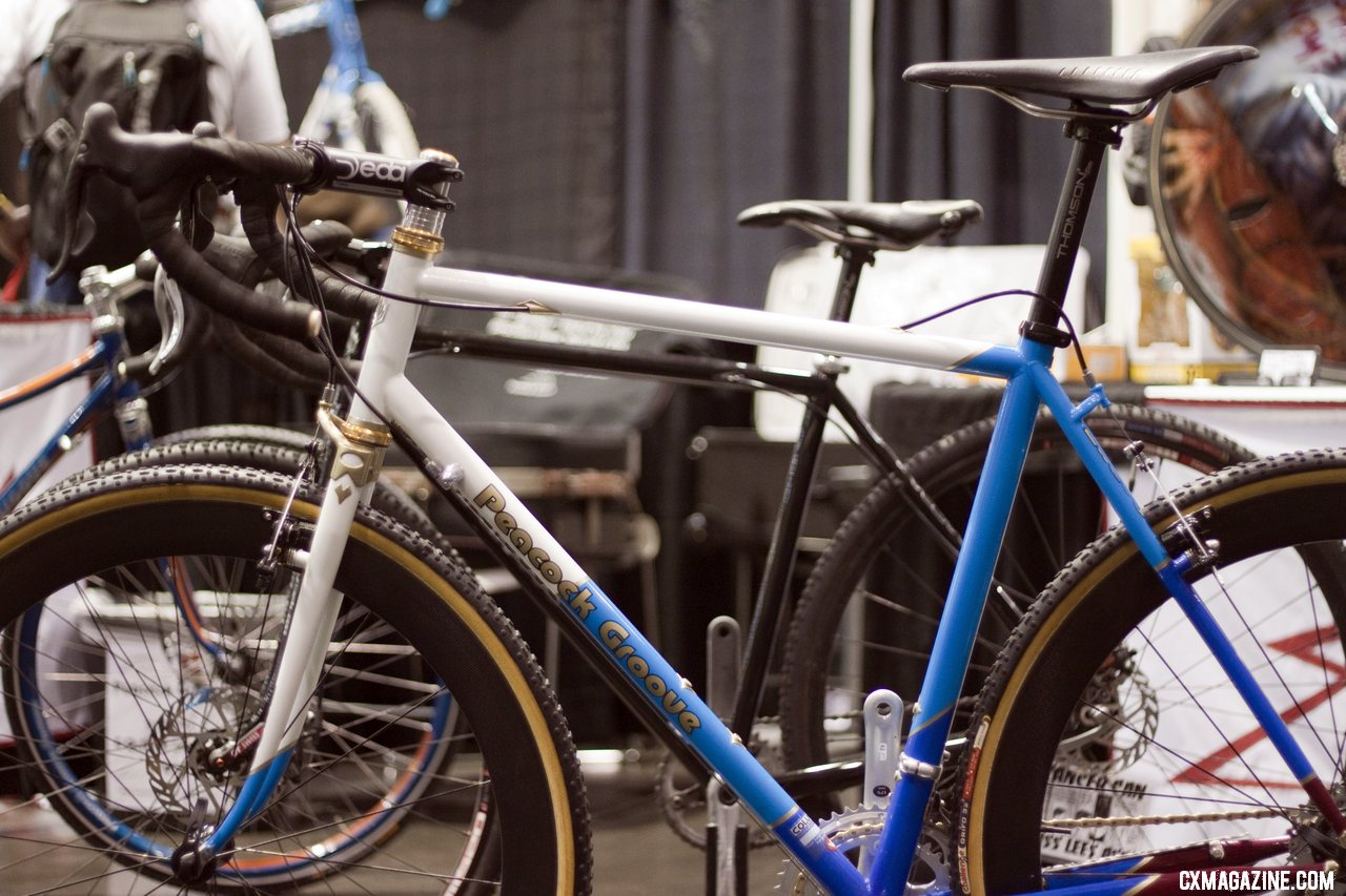 Peacock Groove welds and brazes its frames in Minneapolis and does quite a bit of cyclocross bikes thanks to the growing local scene. NAHBS 2012.  ©Cyclocross Magazine