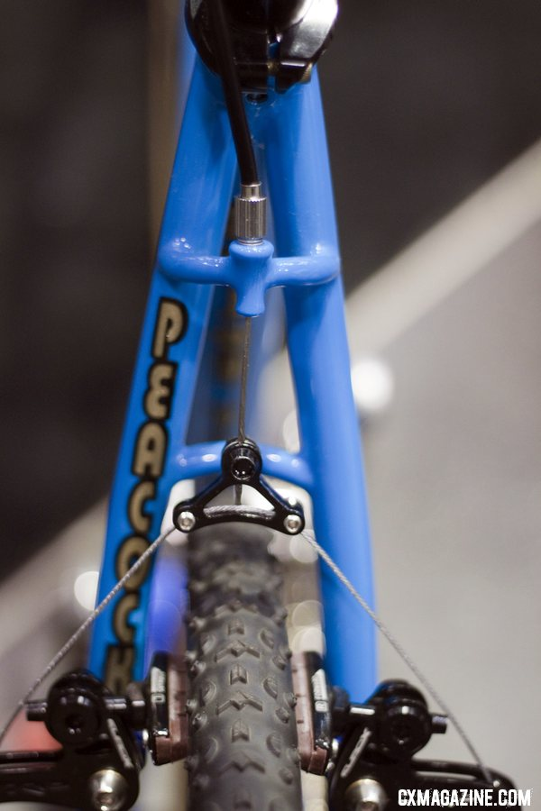 Peacock Groove\'s rear brake cable hanger is a sturdy one, supported by both seatstays. NAHBS 2012.  ©Cyclocross Magazine