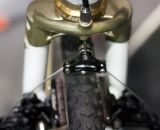 Peacock Groove's Erik Nored modified the fork crown to integrate a cable hanger. NAHBS 2012.  ©Cyclocross Magazine