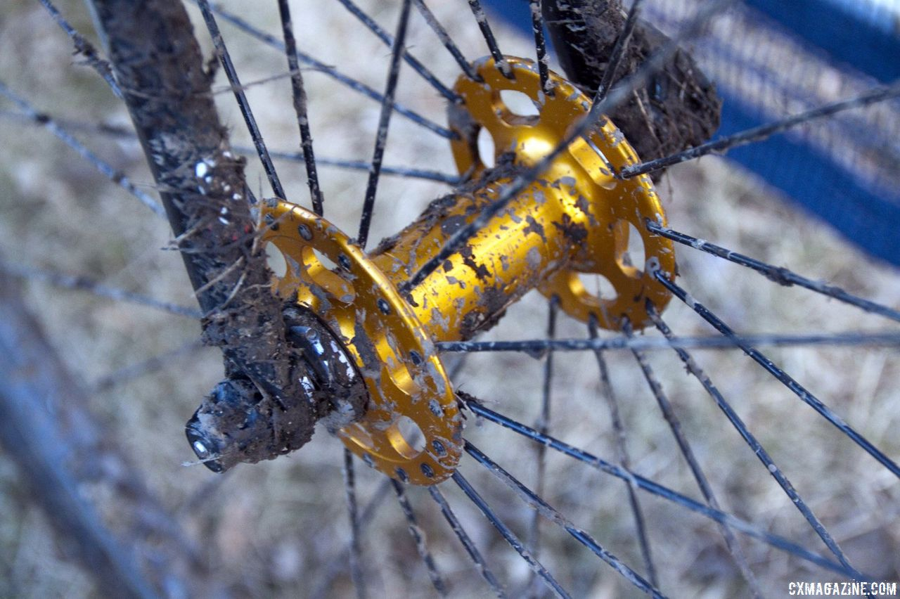 The gold theme continues with the Paul Components high flange hubs © Cyclocross Magazine