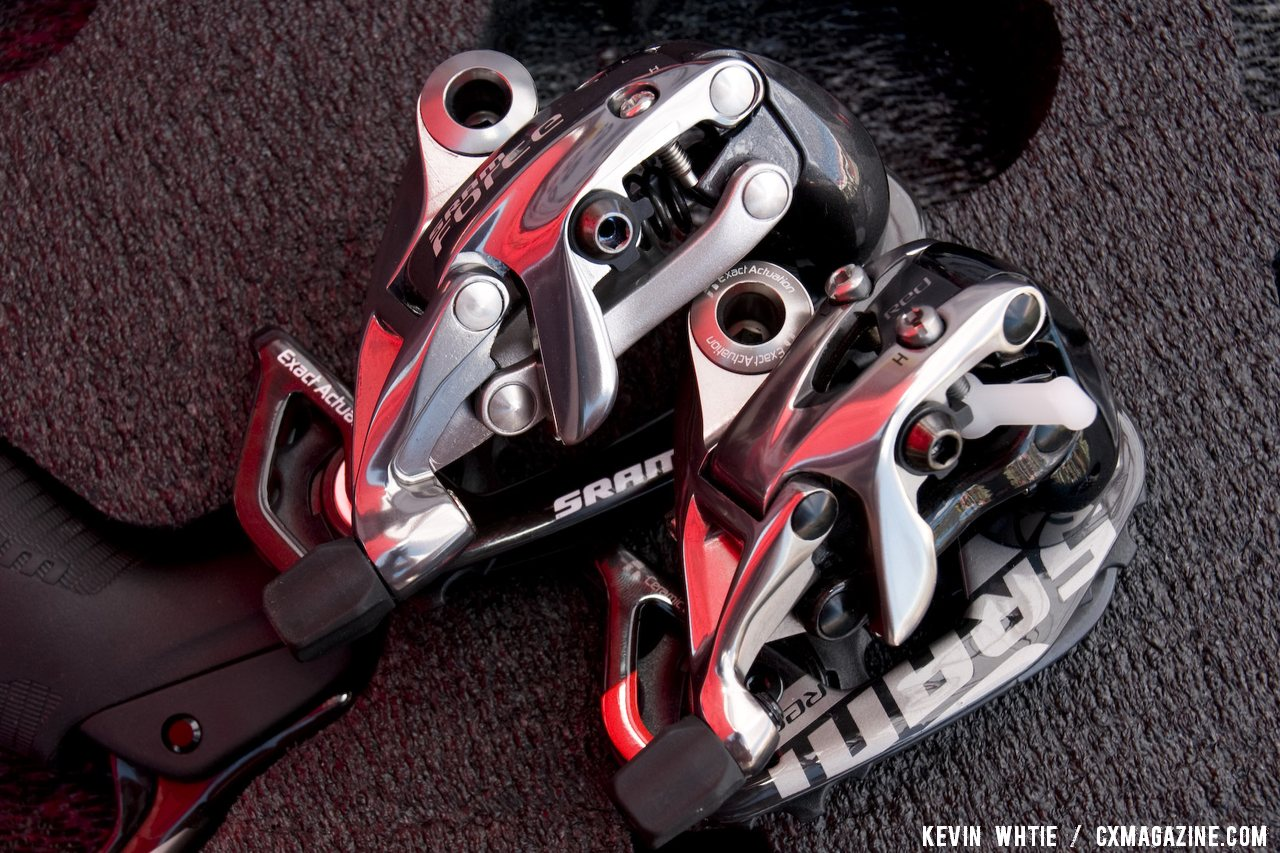 SRAM is expanding its Force line with a mid-cage rear derailleur, top, for use with its WiFLy 11-32 road cassette. © Kevin White