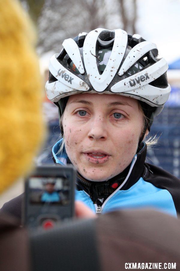 Second place Megan Korol chatting with Cyclocross Magazine. © Cyclocross Magazine