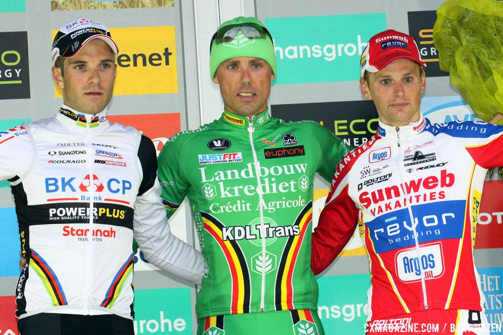 The 2012 Superprestige Ruddervoorde Elite Men Podium: Nys, Albert, Pauwels  © Bart Hazen