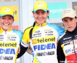 The 2012 Superprestige Ruddervoorde Women's Podium: Nikki Harris, Sophie De Boer, and Sanne Cant © Bart Hazen