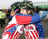 Kaitlin Antonneau gets a hug from Nicole Duke © Bart Hazen