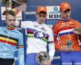 The Podium: Mathieu van der Poel, Quinten Hermans, and Martijn Budding © Bart Hazen
