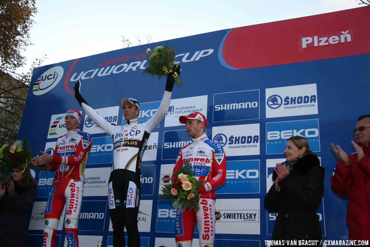The Men\'s Podium: Albert, Pauwels, and Vantornout © Thomas van Bracht