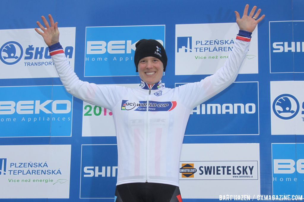 American Katie Compton Enjoying the Top Spot of the Podium © Bart Hazen