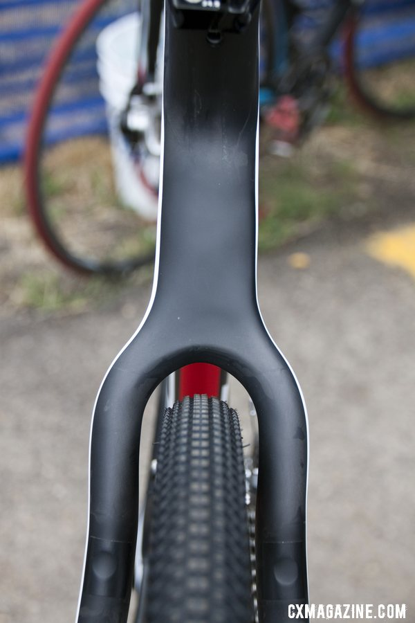 The 2013 BH Bikes RX Team Disc carbon cyclocross bike looks quite beefy, but with some close seatstay spacing by the rear tire. © Cyclocross Magazine