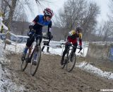 Johnson (Marian) and Werner (Lees-McRae) in a tight battle for the Collegiate D1 Men title. 2013 Cyclocross National Championships. © Cyclocross Magazine