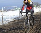 Werner (Lees-McRae) with a late gap. Collegiate D1 Men, 2013 Cyclocross National Championships. © Cyclocross Magazine