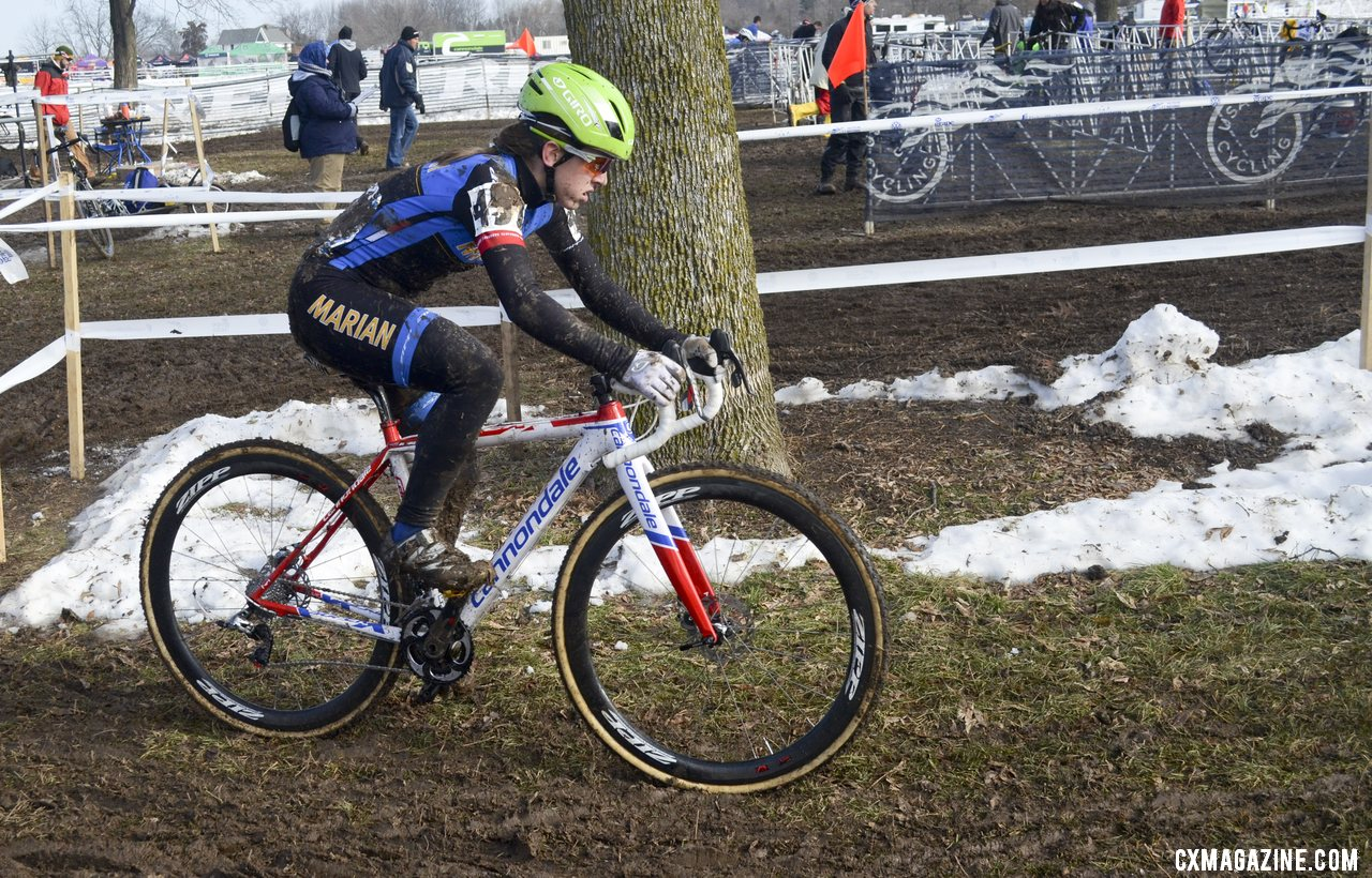 Antonneau had all the latest - disc brakes and funny helmet. They didn\'t slow her down though.  © Cyclocross Magazine