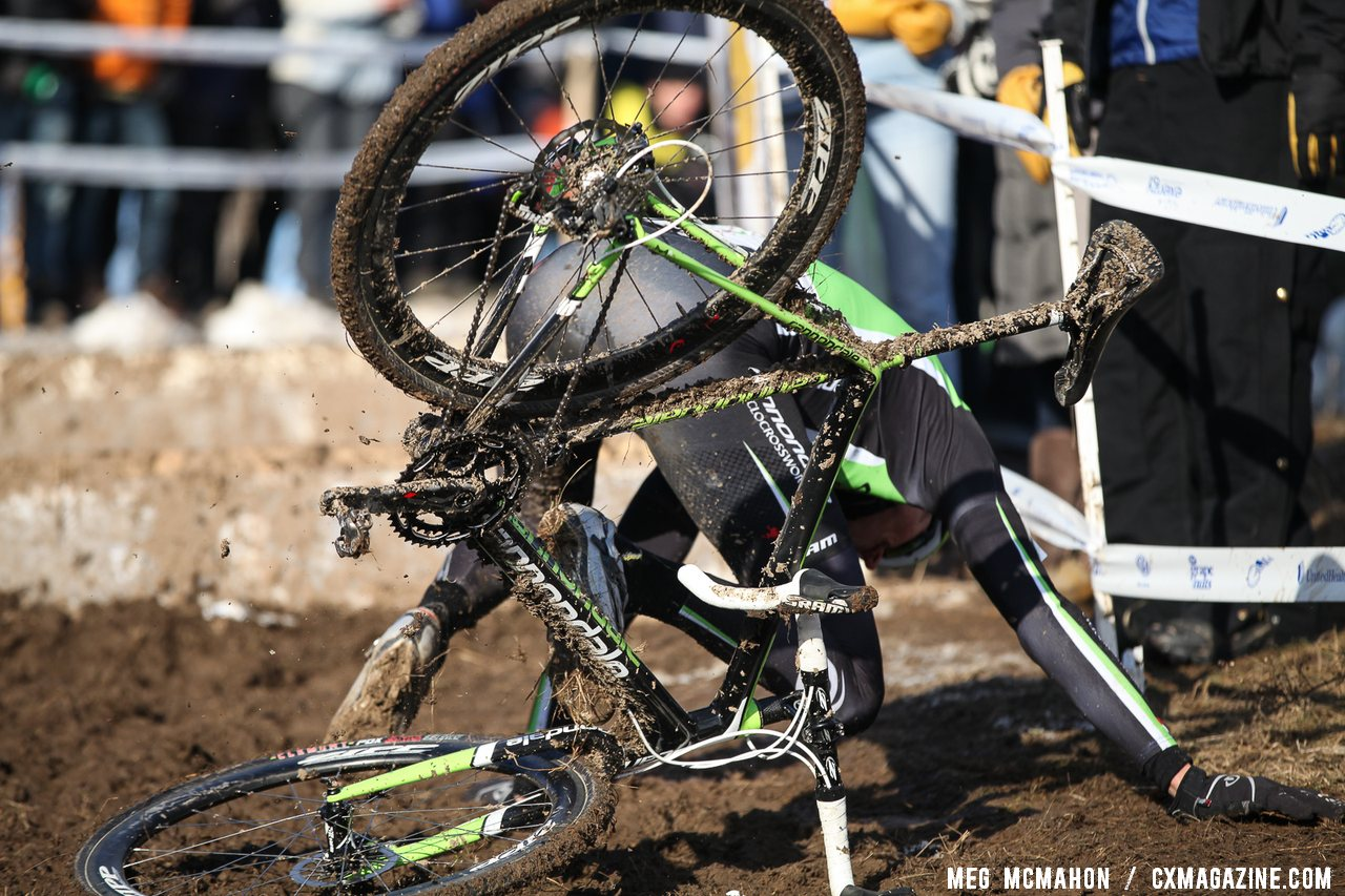 Ryan Trebon (Cannondale p/b CyclocrossWorld) hit a few rough spots in his race, finishing 7th after a fast start. Elite Men, 2013 Cyclocross National Championships.© Meg McMahon