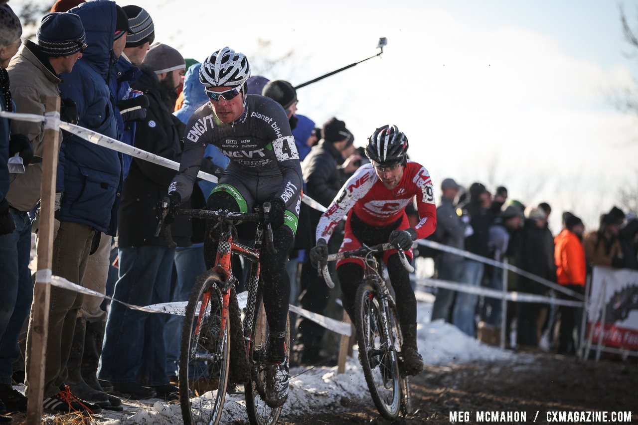 Jonathan Page leading a surprisingly fast-starting Justin Lindine on lap 1 in the chase of Summerhill.  © Meg McMahon
