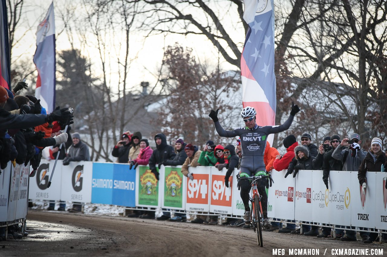 Page returns to the top step of the podium with his fourth title in the Elite Men at Cyclocross Nationals. © Meg McMahon