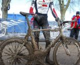 Gunner Dygert's mud-covered bike. Junior 17-18 men, 2013 Cyclocross National Championships. © Cyclocross Magazine