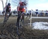 Ian McPherson leading Nolan Brady in the chase of Owen and a podium spot. © Cyclocross Magazine