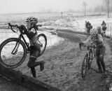 Tall barriers create quite a challenge for the shorter, young racers, even with light carbon wheels. © Cyclocross Magazine