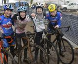 Battle hard, friends after. A group of Junior Women from Chicago celebrate. © Cyclocross Magazine