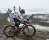 Kathering Santos realizes going sideways is far better than going down. © Cyclocross Magazine