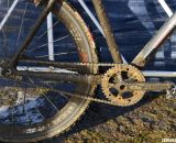 Kari Studley opts for a SRAM Rival crankset and Crank Brothers Eggbeater pedals. © Cyclocross Magazine