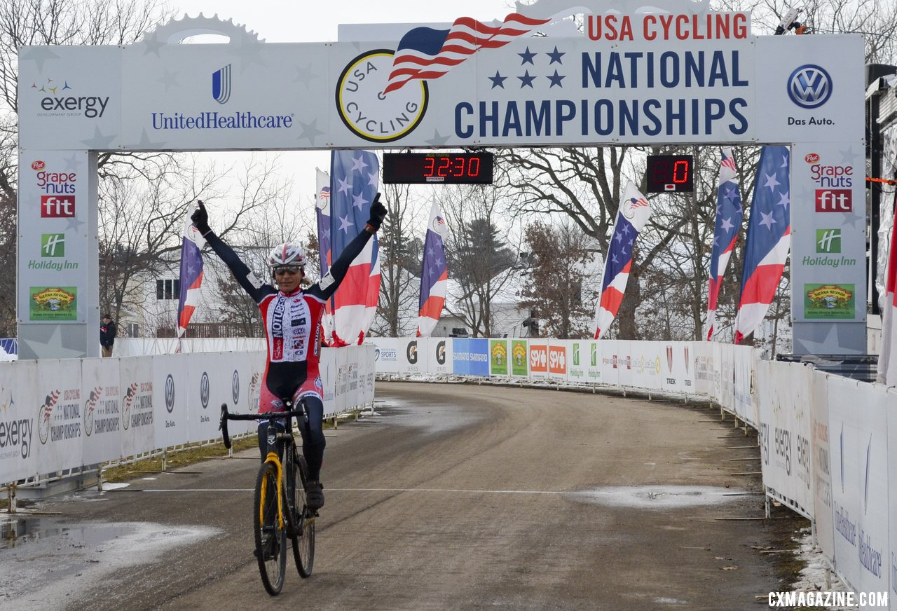 Gibson, winning the 45-49 race, with plenty of time to celebrate another Masters title. © Cyclocross Magazine
