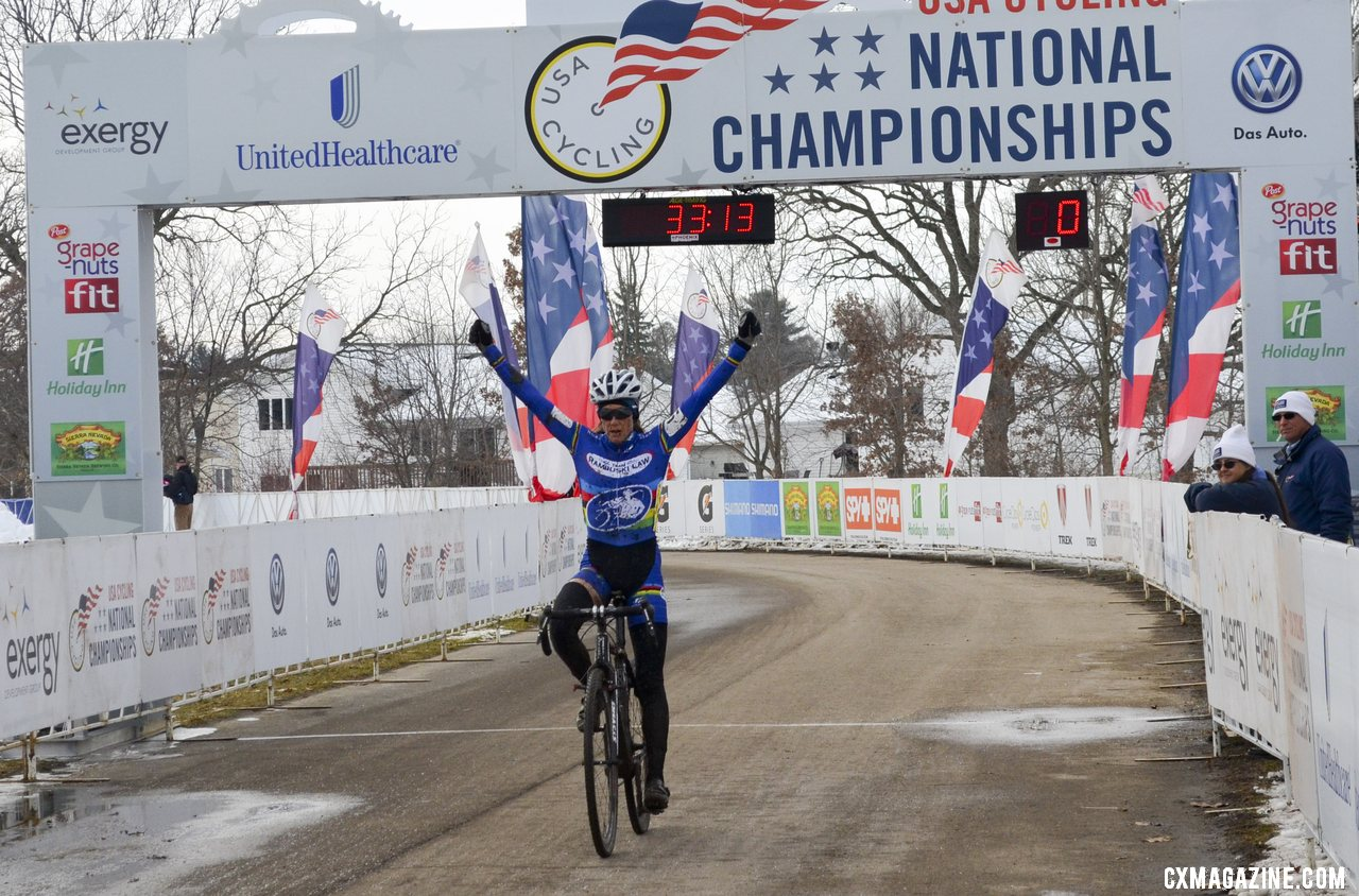 Karen Brems added her second victory in two days, winning both the Masters 50-54 and the B Race. © Cyclocross Magazine