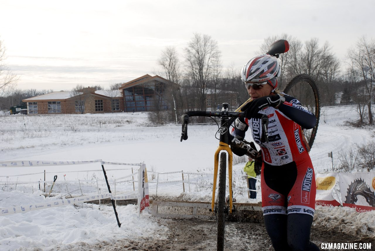Gibson (NoTubes) running the barriers. 2013 Cyclocross National Championships. © Cyclocross Magazine