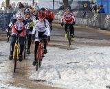 Shannon Gibson and Antonia Leal battle for the holeshot in the Masters 45-49 race. ©Cyclocross Magazine
