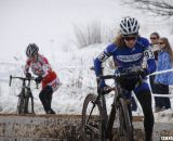 Brems leading the 50-54 race, ahead of 45-49 racer Jeanne Fleck. © Cyclocross Magazine