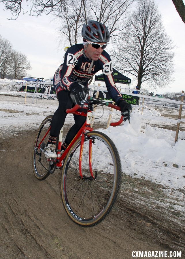 Richard Sachs, racing the 60-64 now, avoided another framebuilder battle with Paul Sadoff.  ©Cyclocross Magazine