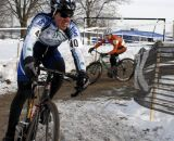 Leone Pizzini from PA came on strong to catch Rollins at the line. ©Cyclocross Magazine