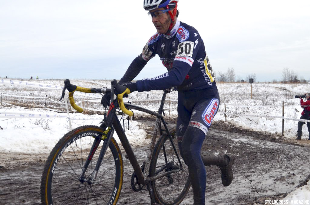 Henry Kramer led for much of the race but dropped a chain and couldn\'t contest the sprint.  ©Cyclocross Magazine
