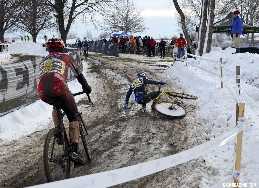 Paul Curley, like many other racers, hit the deck hard with the icy conditions. ©Cyclocross Magazine