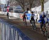 Sarvary leads the 55-59 race down the starting straight. ©Cyclocross Magazine